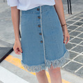 2016 new fringed denim skirt female summer was a word lanky waist skirts solid color personality