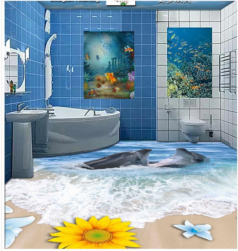 ФОТО Custom Photo self-adhesive 3D floor PVC waterproof floor  3d floor wallpapers  Beach sand waves