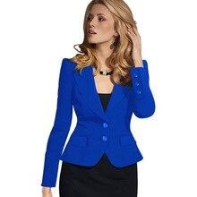 2017 New Women Autumn Winter Long Sleeve Office suit Wear to Work Business Outwear Jacket Blazer Plus Size X02