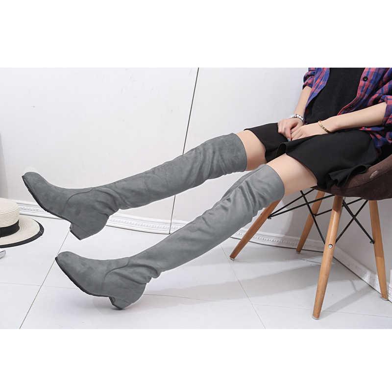 2019 kadın Yüksek Çizmeler Ayakkabı Moda Kadınlar Diz Çizmeler Üzerinde 2018 Yeni Sonbahar Kış Akın Botas Feminina Uyluk yüksek Çizmeler