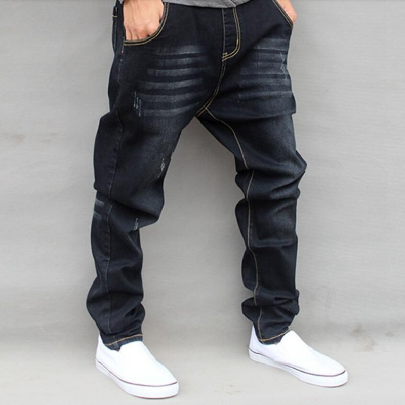 New Arrival Fashion Mens Harem Pants Retro Boys Loose Fit Trousers Drop Crotch Denim Tapered Jeans Plus Size M-6XL Free Shipping 2014 new fashion reminisced men vintage trousers casual jeans wash capris pants loose plus size overalls zipper denim jumpsuit