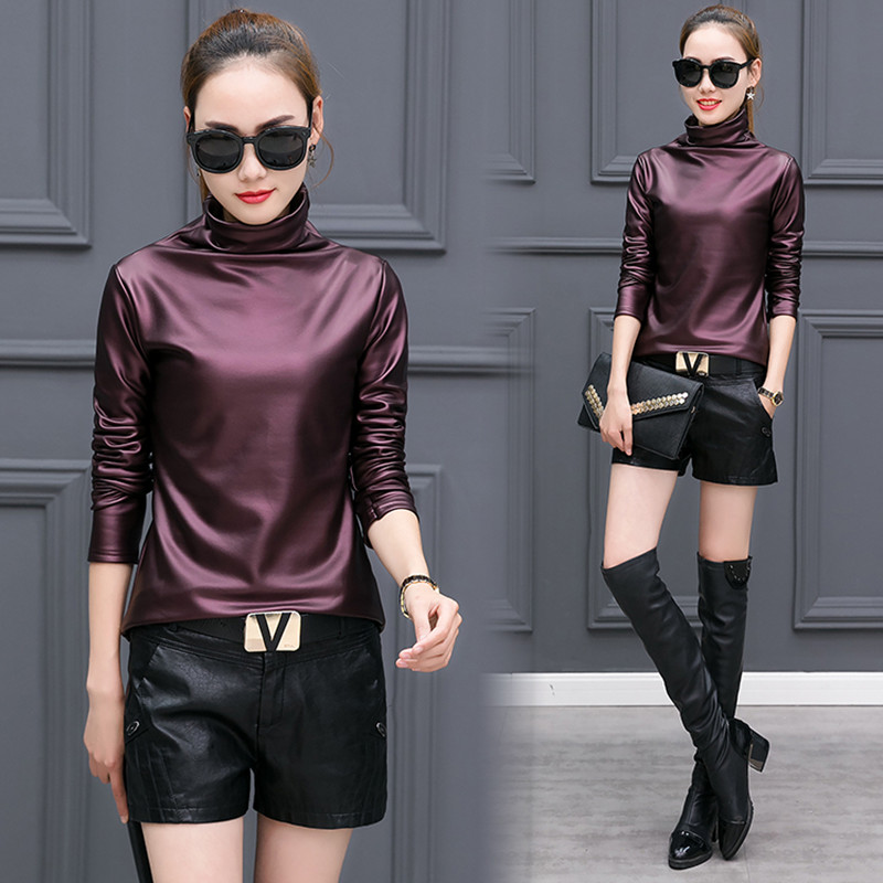 247f5656369 Plus Size 4xl T Shirts Women Harajuku Sexy Long Sleeve Turtleneck Velvet T  Shirt Female Tops American Apparel Pu Leather T Shirt-in T-Shirts from  Women s ...