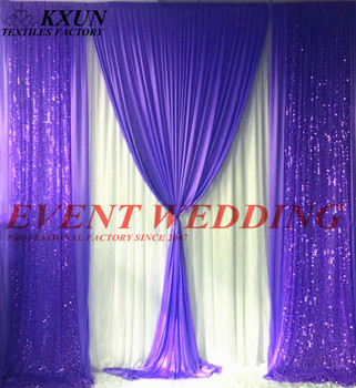 2.4M 3M 6M Long Ice Silk Wedding Backdrop Curtain Stage Background With Sequin Drape Fabric Event Party Decoration