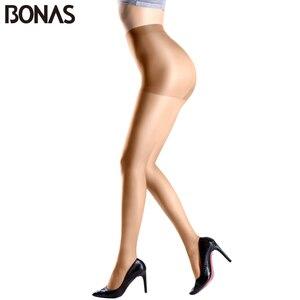 Image 3 - BONAS 6 sztuk/partia hurtownie kobiety rajstopy 15D Nylon Lady lato nowy wysokiej elastyczności elastan rajstopy kobiece bezszwowe miękkie rajstopy