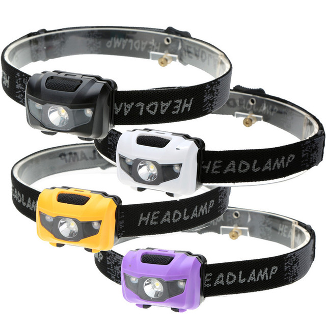 Mini 4 Modes Waterproof Led Headlamp Headlight 2 Red LED+1 White LED Head Lamp Torch Lantern Light for Fishing hunting