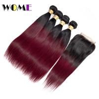 Wome Ombre Bundles With Closure T1B/99J Indian Straight Human Hair 4 PCS With 4*4 Lace Closure Baby Hair Natural Line