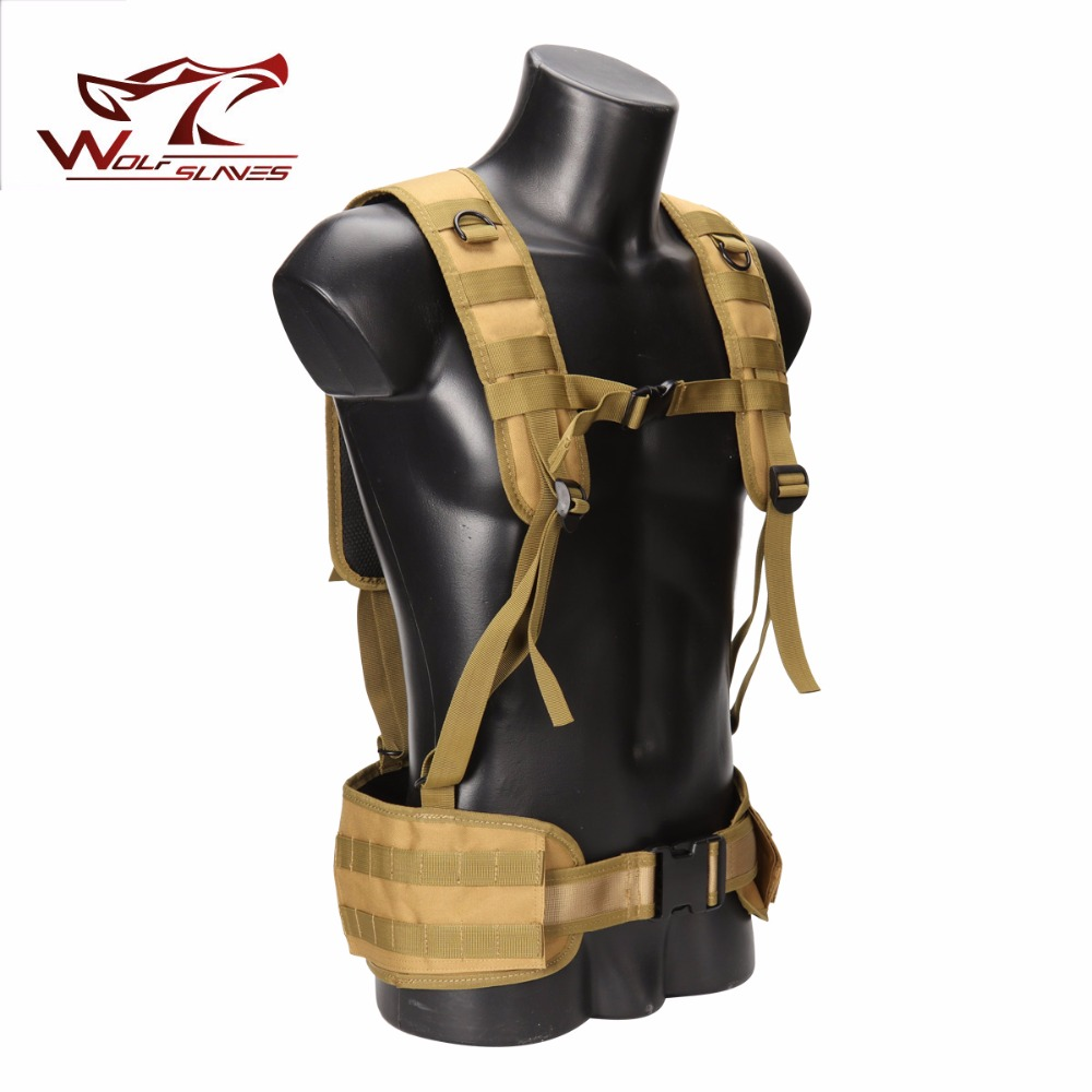 MOLLE Tactical Girdle Belt Set with Shoulder Strap Simple Vest Camouflage Military Airsoft Forces Heavy Duty Hunting Clothing