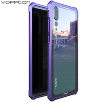 Voppton Luxury Hard Alloy Case For Huawei P20 Pro Case Aurora Gradient Tempered Glass Back Cover