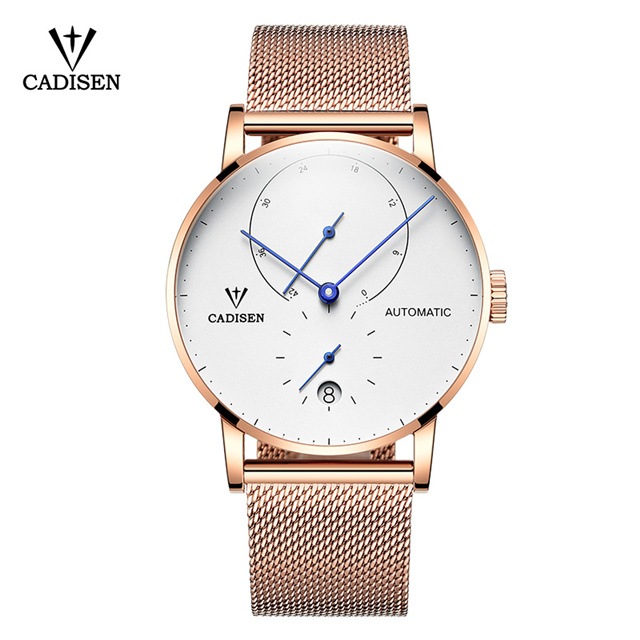 2018 New Famous Brand Gold Casual Geneva Mechanical Watch Men Mesh Stainless Steel XFCS Men Watches Relogio Masculino Clock