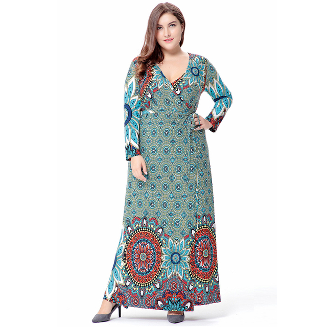 Women Long Sleeve Long Dress Plus Size Maxi / Long Casual Abaya Turkish Ethnic dress