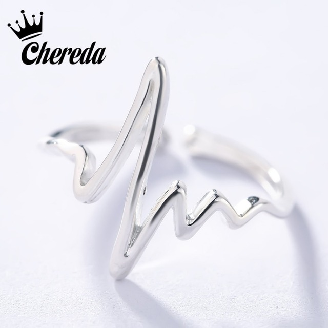 Chereda Silver Plated Heart Beat Rings for Women Adjustable Electrocardiogram Ri