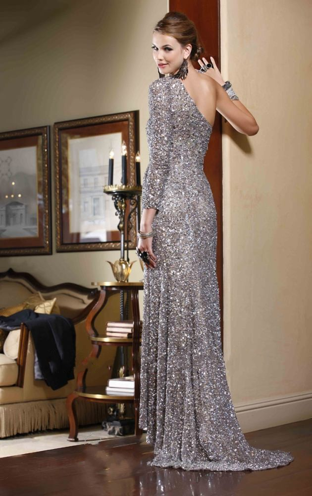 6e66c3597ce7 Gold silver red sequins beaded one shoulder long sleeve sexy sequins prom  dress one sleeve evening dress-in Evening Dresses from Weddings & Events on  ...