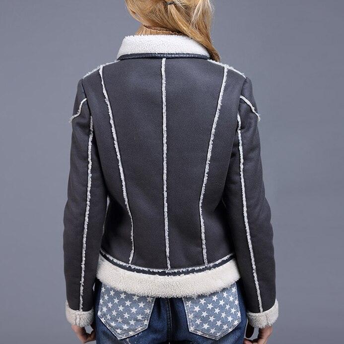 Version Section Daim Agneaux 2018 Courte De En Gray Moto Veste Mince Coréenne Hiver Moutons La Vêtements Cuir Femmes qgnwzgaExP
