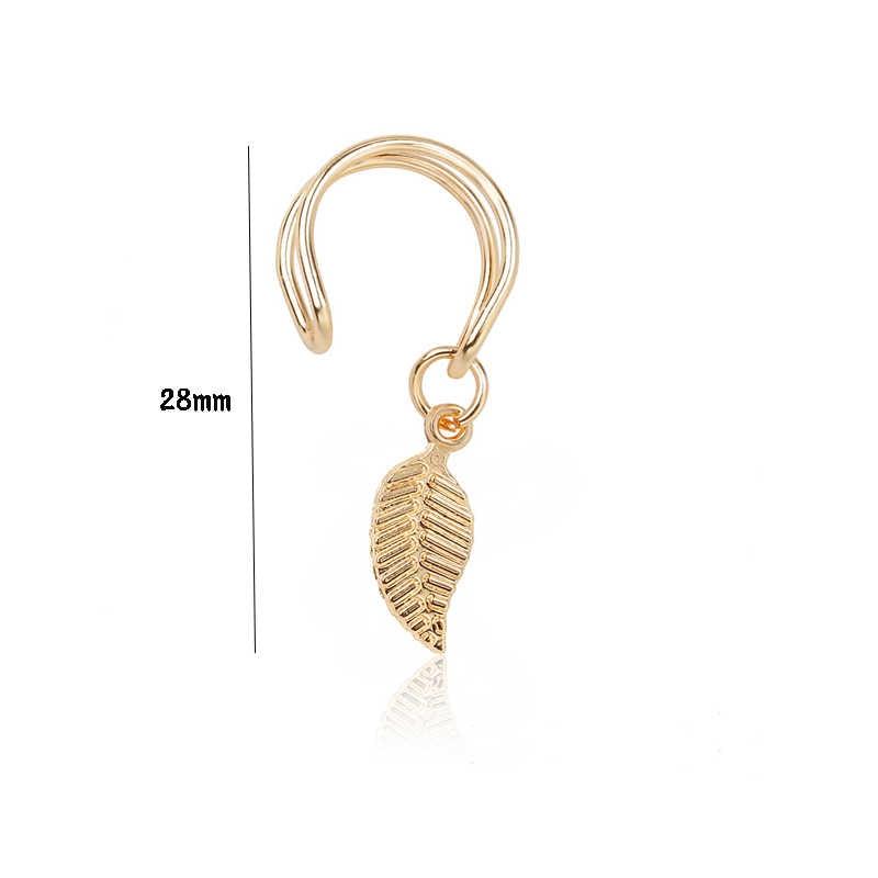 ใหม่แฟชั่น 1PC Sliver Gold สีดำ Leaf Clip บนต่างหู Hoop Earcuffs สแตนเลสสตีลหูข้อมือสำหรับผู้หญิงผู้ชายเครื่องประดับ