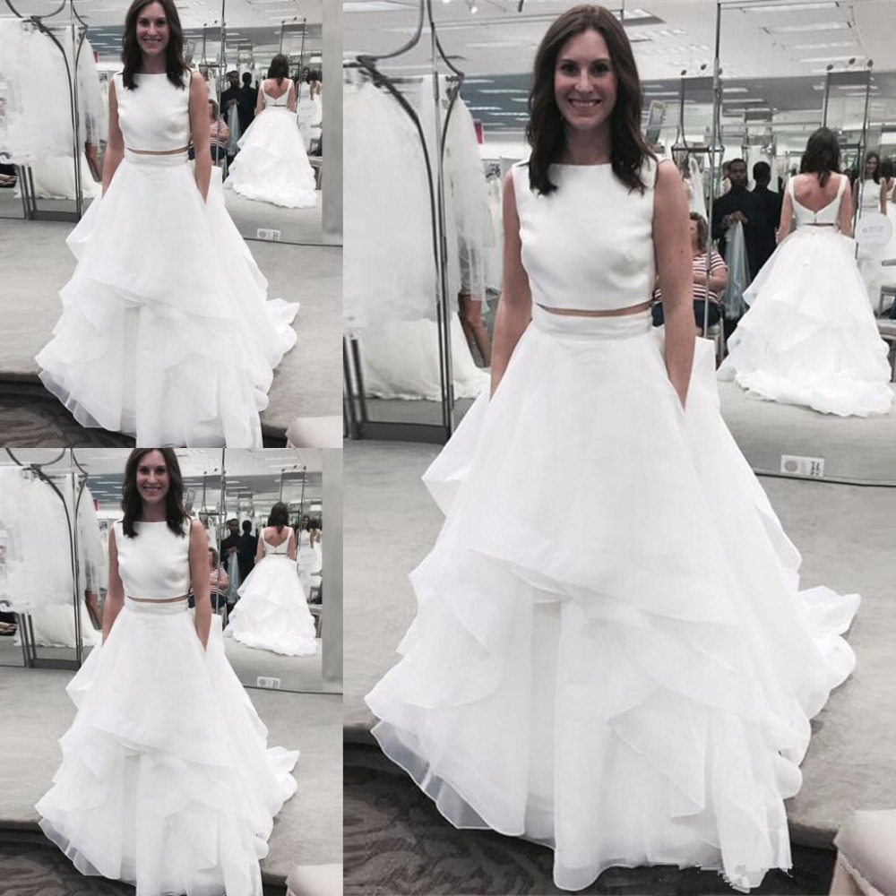 Elegant Scoop Two Pieces A-line Wedding Dresses Ruffles Organza Button  Bridal Wedding Gowns Hochzeitskleid Robe De Mariee April 10