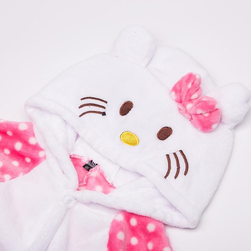 Payız Qış Oğlanları Qızlar Pijama Sevimli Cizgi Filmi KT Pişik - Karnaval kostyumlar - Fotoqrafiya 4