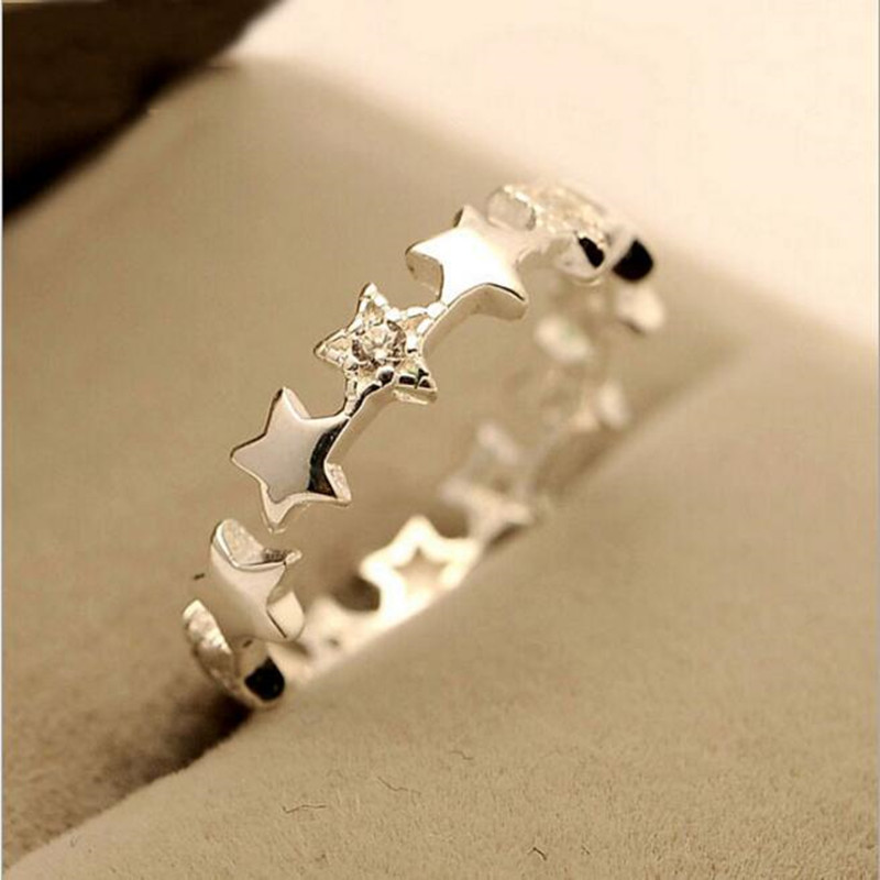 925 Sterling Silver Jewelry  Fashion Small Fresh Stars Crystal Prevention Simple Beautiful Opening Rings   SR28