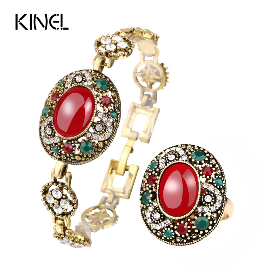 Luxury Vintage Red Bracelets And Rings Jewellery Set For Women Mosaic Crystal Co