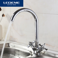 LEDEME Kitchen Faucet Chrome Plated J Letter Design 360 Degree Rotation With Water Purification Features Double