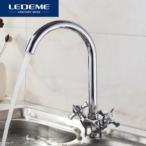 Image 1 - LEDEME mutfak musluk krom kaplama J mektup tasarım 360 derece rotasyon su arıtma özellikleri çift saplı L4311 2