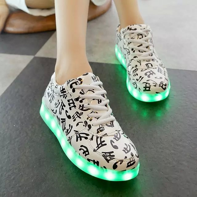 The new selling all seasons shoes Colorful LED note LED USB charging sport kids shoes, kids casual shoes, girls white shoes