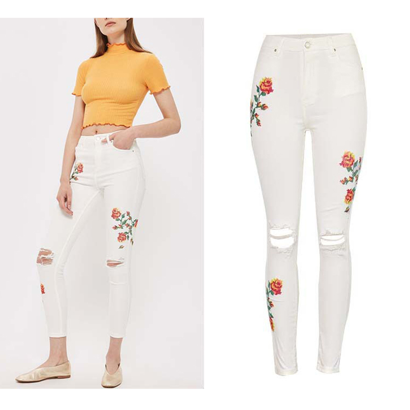 Hot Fashion Chic Jean Women White Denim Pants High Waist Stretch Rose Embroidery Jeans Hole Ripped Vintage Denim Trousers Pants