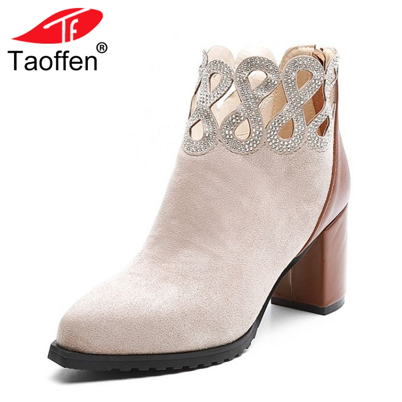 TAOFFEN Size 34-42 Woman High Heel Boots Genuine Leather Women Shoes Mixed Color Zipper Women Ankle Boots Woman Shoes Footwear цена