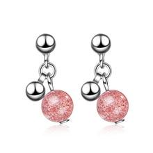 Trendy Strawberry Quartz Flower 925 Sterling Silver Female Tassel Stud Earrings Wholesale Jewelry For Women Gift Cheap