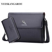 KANGAROO Brand Leather Men Bag Business Shoulder Bag Casual Mens Crossbody Messenger Bag For A4 document Briefcase Handbag bolsa