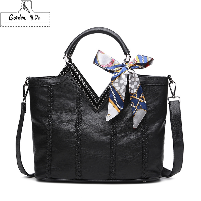 Brand Women Pu Leather Handbags Ladies Large Tote Bag Female Ribbon Shoulder Bags Bolsas Femininas Sac A Main Black Red Gray handbags women trapeze bolsas femininas sac lovely monkey pendant star sequins embroidery pearls bags pink black shoulder bag