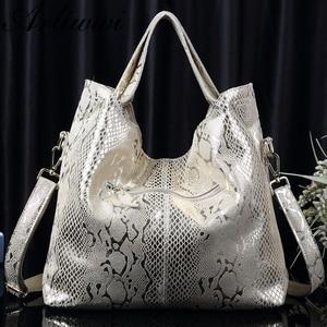Image 4 - Arliwwi Brand New Quality Serpentine Grain Suede Cowhide Classical Designer Genuine Leather Handbags With Elegant Tassel GB01