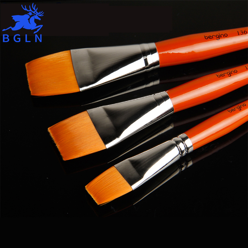 BGLN 1Pcs Europe's Top Domestic Master Nylon Wool Flat Paint Brush Oil Painting Brush Acrylic Watercolor Pen Art Supplies 1pc 96grid bag pen holder paint brush holder watercolor oil acrylic painting tool pencil case stationary art easel container