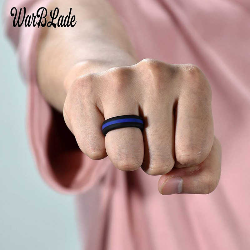 WBL Silicone Ring Colorful Three Layered Hypoallergenic Crossfit Flexible Rubber Finger Rings Men Women Engagement Wedding Rings