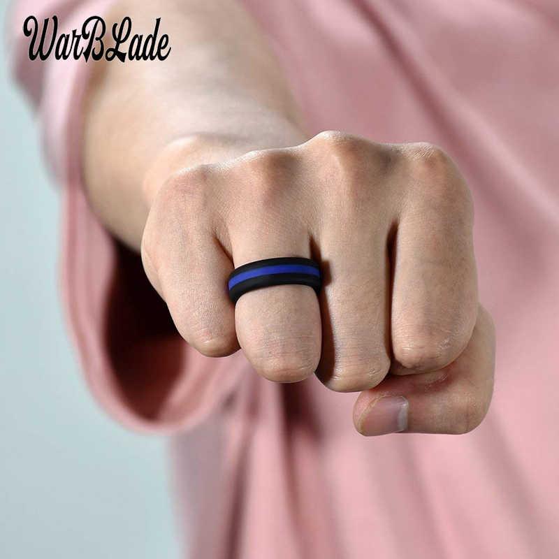 Wbl Silikon Cincin Colorful Tiga Berlapis Hypoallergenic Crossfit Karet Fleksibel Jari Cincin Pria untuk Wanita Cincin