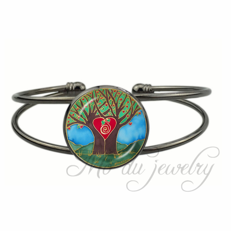 ⊱Moda rojo árbol brazalete abierto amantes Árboles pulseras ...