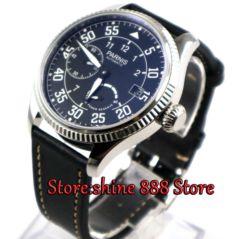 45mm parnis Black dial Power Reserve <font><b>ST2530</b></font> Automatic Movement Men's Mechanical Wristwatch image