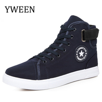 New Arrival Men Canvas Shoes Spring Autumn Top Fashion Lace Up High Style Solid Colors Flat