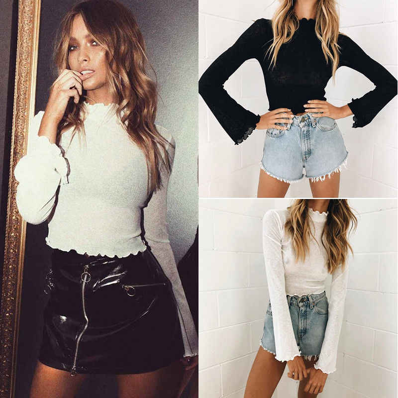 b18d0785795 Long Sleeve Shirt Women Mesh Top Summer Lace Transparent Top Loose Cute  Tops Long Sleeve Ruffles