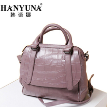 HANYUNA BRAND 2017 New Fashion Alligator Print Cow Leather Women Handbags Boston Type Female Shoulder Bag
