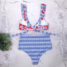 Купить с кэшбэком   Triangle Underwear Bikini Set Women Swimwear Printed Plaid Sexy Bikini Push Up High Waist Swimming Suit Maillot Femme Sexy