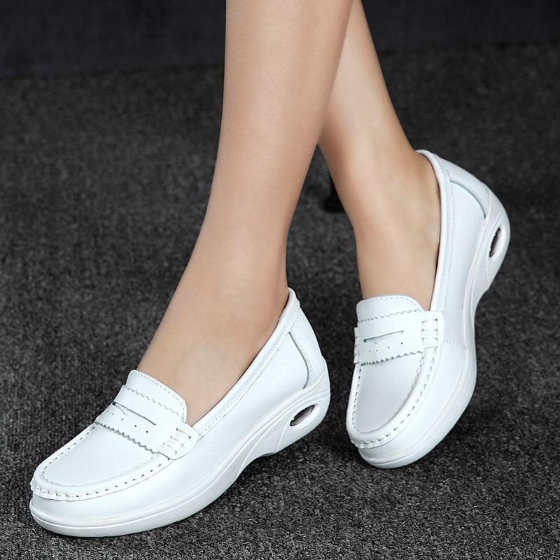 New style Summer platform shoes genuine leather breathable shoes women slip-on swing loafers Female shoes nurse work boat shoes 2018 brand new spring men slip on shoes breathable shoes british style shoes loafers genuine leather flat shoes wa 03