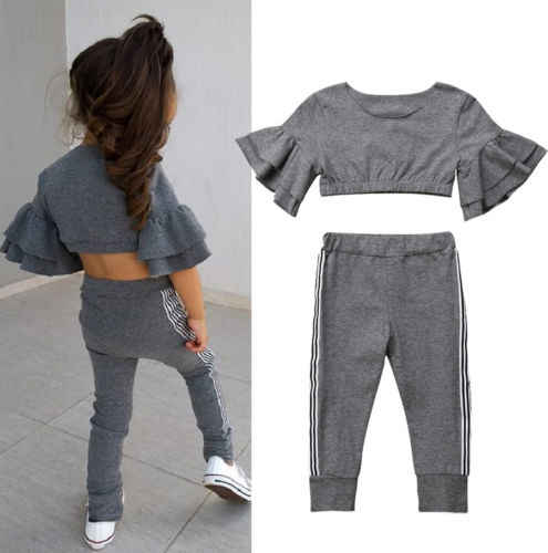 a34992daeff1 2018 Autumn Fashion Kids Baby Girls Ruffles Tracksuits Sets Solid Flare  Sleeve Bare Belly Slim Tops
