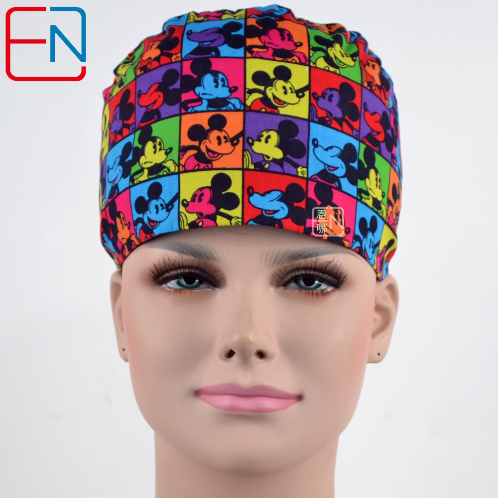 Hennar 2018 Catoon Print Surgical Cap Women Cosmetologist Pet Hospital Nurses Cotton Work Cap Masks Adjustable Medical Hats Mask