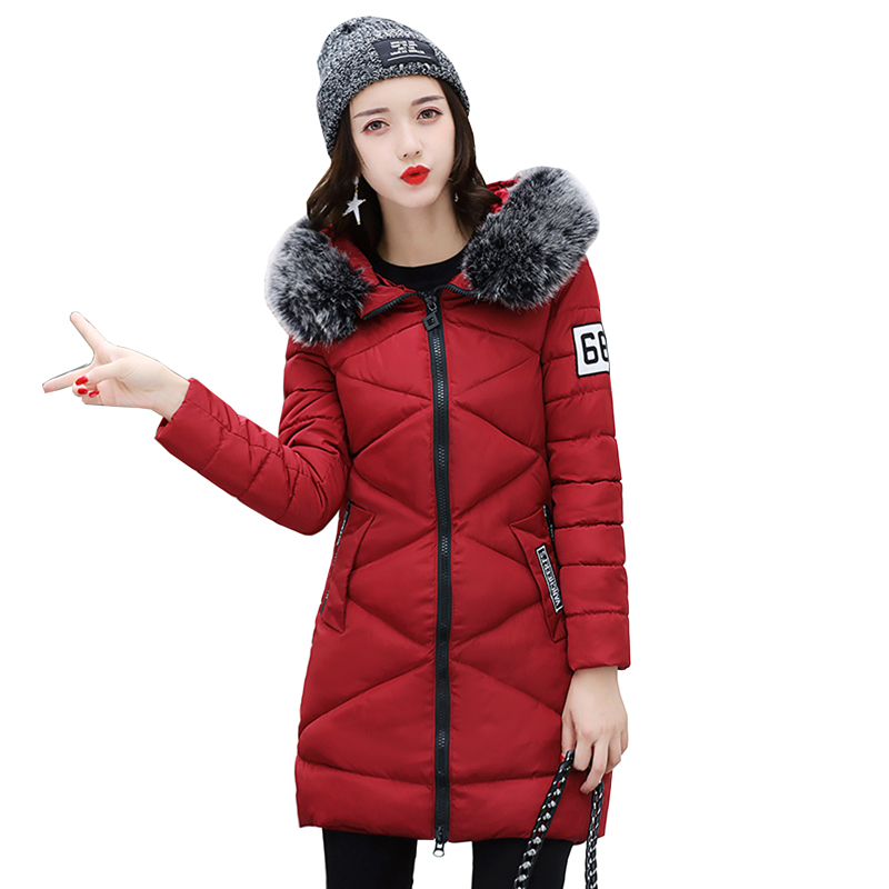 2017 winter jacket women fashion slim long cotton-padded Hooded jackets parka female wadded outerwear winter coat Plus size 4L93