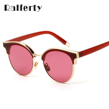 Ralferty Stylish Transparent Sunglasses Women Olive Green Eyewear Accessories Semi-rimless Female Sunnies Shades Red Color 1708