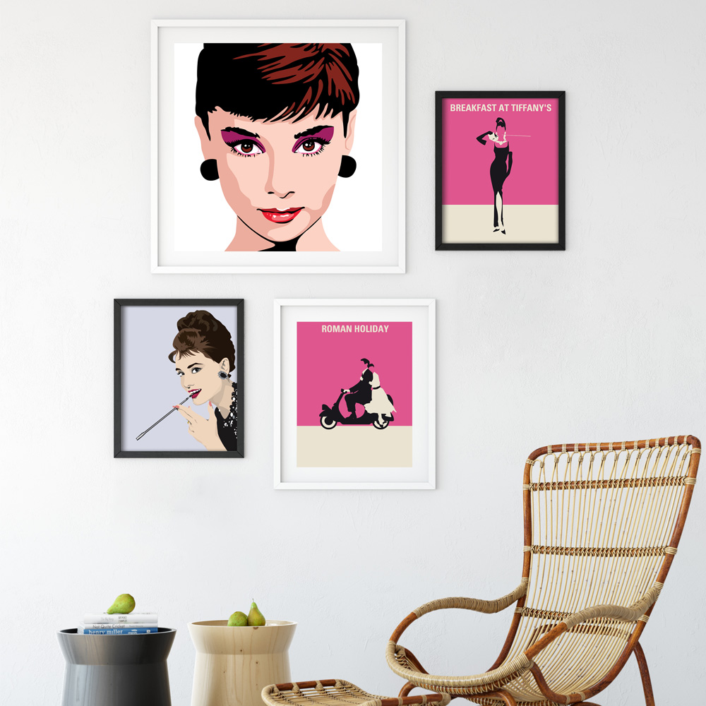Scarface money power respect vinyl wall decal for home decore - Bianche Wall Audrey Hepburn Modern Classic Movie Star A4 Canvas Painting Art Print Poster Picture Wall