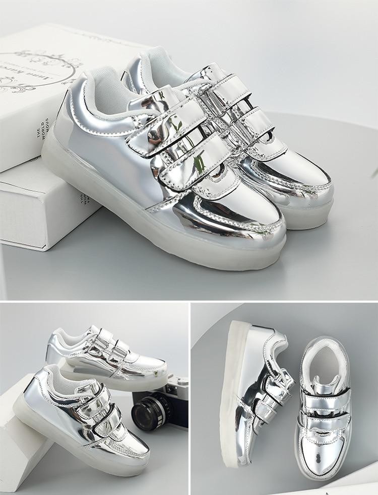 das meninas dos meninos sapatos de flash brilhante