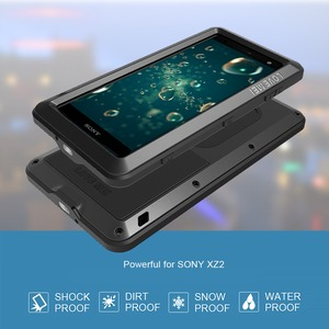 Image 4 - Feitenn Heavy Duty Protection Phone Case for Sony XZ2 Armor Metal Tempered Glass Phone Silicon Bumper Shockproof Aluminum Cover