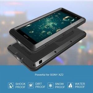 Image 4 - Feitenn Heavy Duty Protection etui na telefon do Sony XZ2 Armor metalowe szkło hartowane telefon silikonowy zderzak odporny na wstrząsy aluminiowa osłona