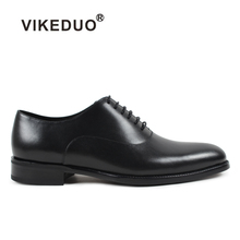 VIKEDUO Handmade Classic Genuine Cow Leather Shoes High Quality Luxury Business Office Wedding Party Dress Shoe Men Oxford